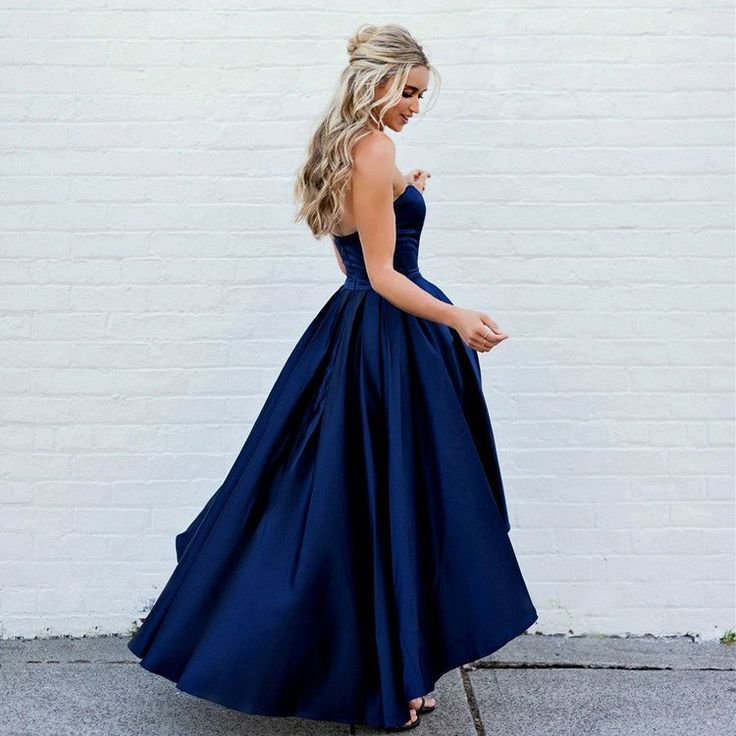 Beautiful Tea Length Blue Strapless Party Dress,Satin Prom Dress With High Low Skirt
