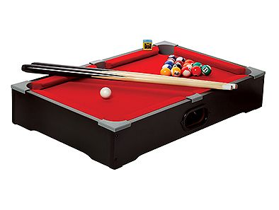 Get the gang together for a round of billiards... or bring the billiards along with you! A great gift for students, this ESPN Table Top Pool Table sets up anywhere and comes with sticks, balls, chalk, and a brush! Just sold for $0.62!