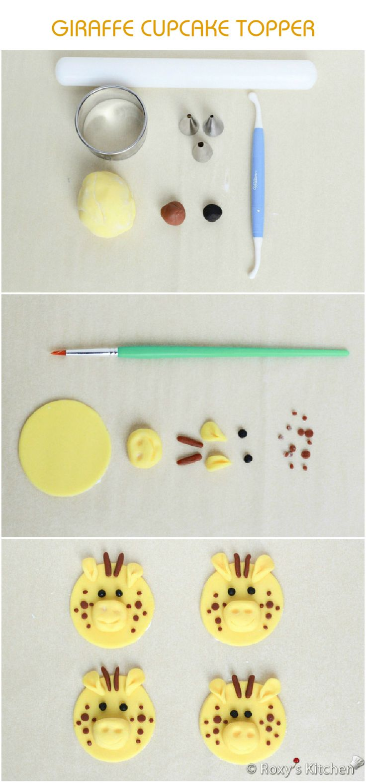 Tutorial with Step by Step Instructions & Photos - How to Make a Fondant Giraffe Cupcake Topper / Safari Jungle Animals Birthday Party