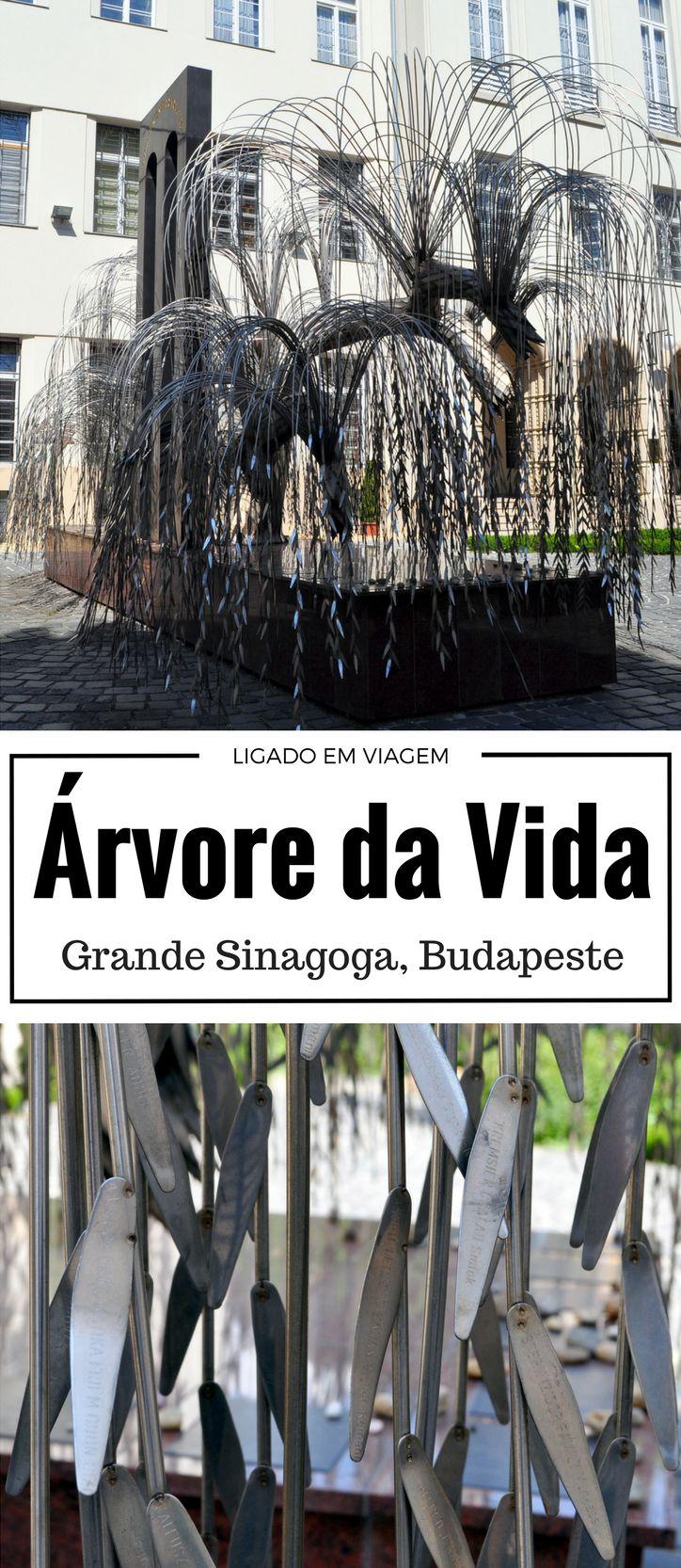 """""""... marcado por uma Árvore da Vida - um escultura de metal representando um salgueiro-chorão em que cada folha tem escrito o nome de uma vítima. Quando a brisa sopra, as folhas de metal batem umas nas outras, soando com um eco fantasmagórico acima do solo sagrado."""" Dan Brown, Livro """"Origem"""" - Uma bela descrição sobre essa escultura que visitamos na Grande Sinagoga em Budapeste! - Tags: #hungria #budapeste #grandesinagoga #arvoredavida #danbrown #origem #robertlangdon"""