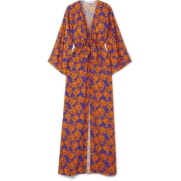 Borgo De Nor Elsa floral-print crepe maxi dress ($1,145) ❤ liked on Polyvore featuring dresses, purple, maxi dress, crepe maxi dress, flower print dress, purple maxi dress and purple dresses