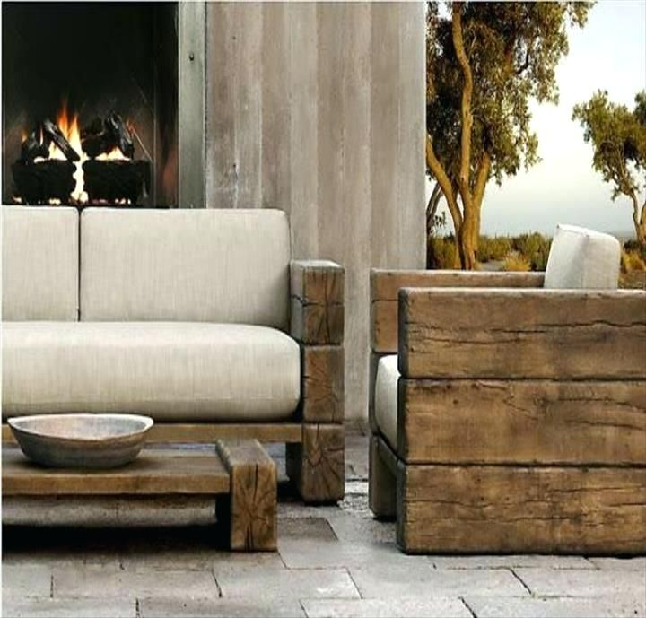 Rustic Patio Furniture Reclaimed Wood Outdoor Tables Within Modern
