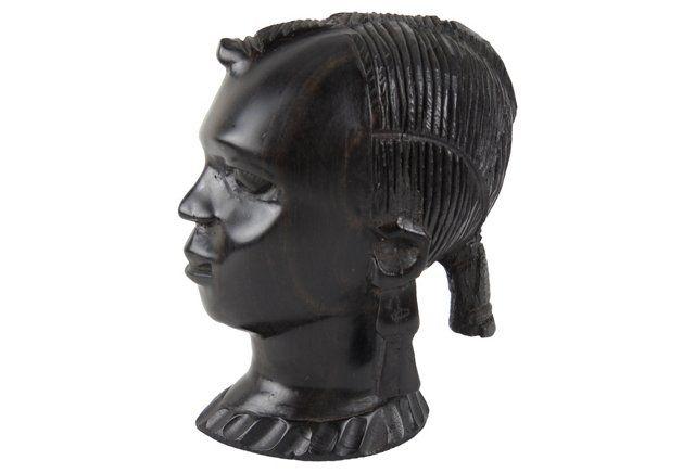 African Ebony Wood Nubian Bust circa 1960's $205