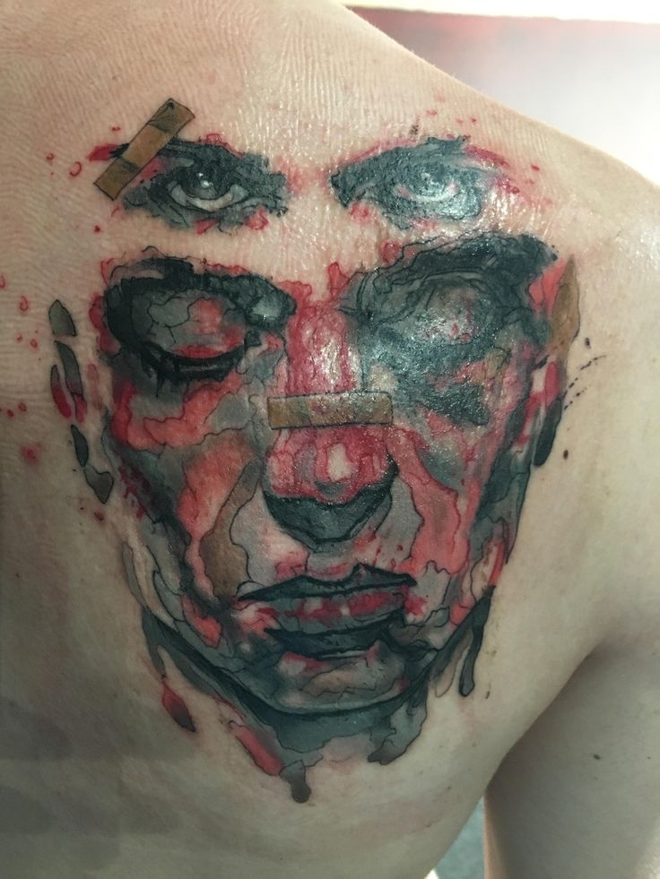 Fight club tattoo done by Clayton Howell from revolt tattoo in Las Vegas.