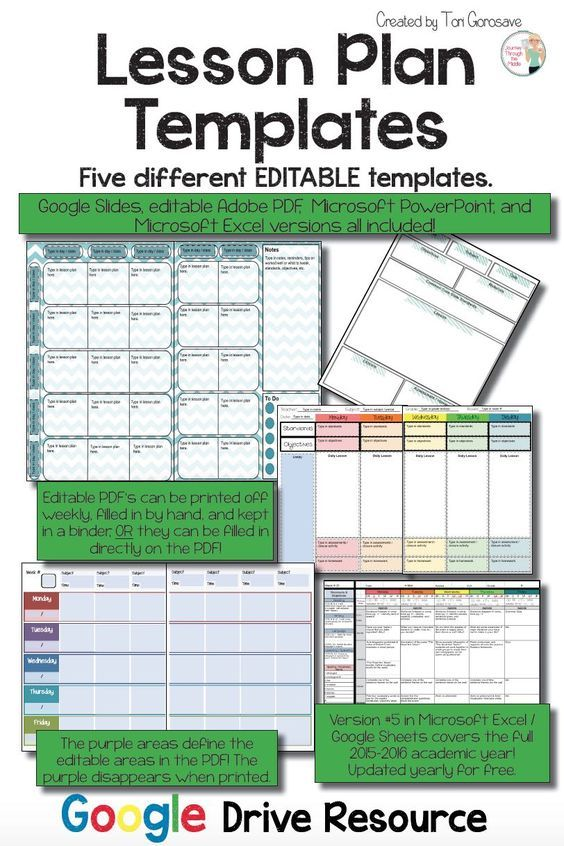 lesson plan templates multiple editable templates