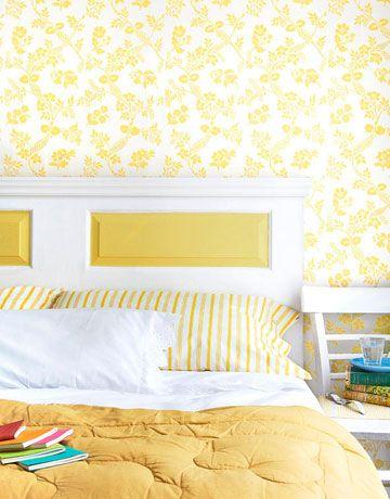 Yellow: Diy Home Decor, Doors Headboards, Home Decor Ideas, Headboards Ideas, Salvaged Doors, Black White, Diy Headboards, Beds Frames, Old Doors