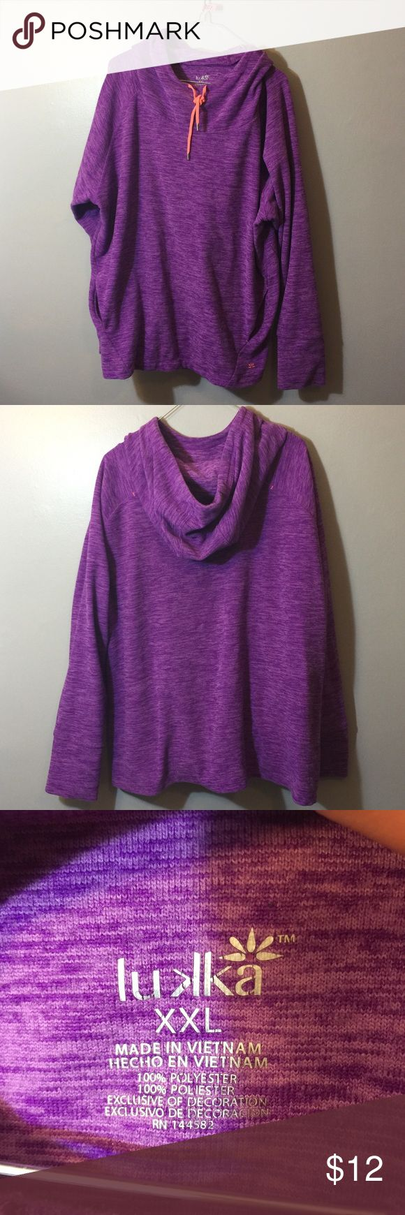 #201 Purple hoodie Purple cowl neck style hoodie with thumb holes in the sleeves and neon accents. The pocket is inside instead of sewn onto the outside but still goes all the way through. Lukka Tops Sweatshirts & Hoodies