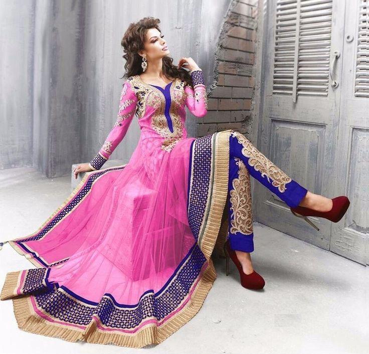 Superb Pink Colored Embroidered Anarkali Suit