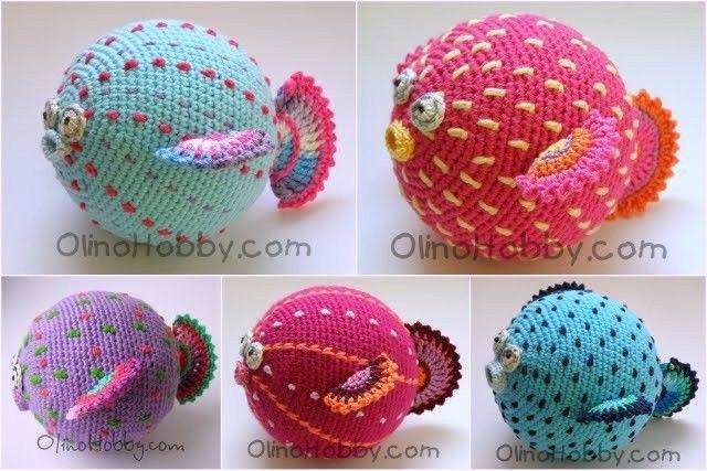вязаная рыба, рыба ёж, вязаная погремушка, круглая игрушка крючком, игрушки olinohobby