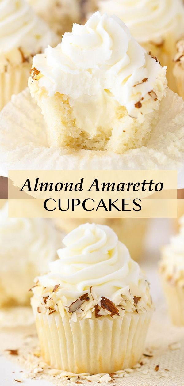 Almond Frosting, Almond Cupcakes, Yummy Cupcakes, Icing Recipe For Cupcakes, White Cupcake Recipes, Moist Cupcakes, Mini Desserts, Just Desserts, Delicious Desserts