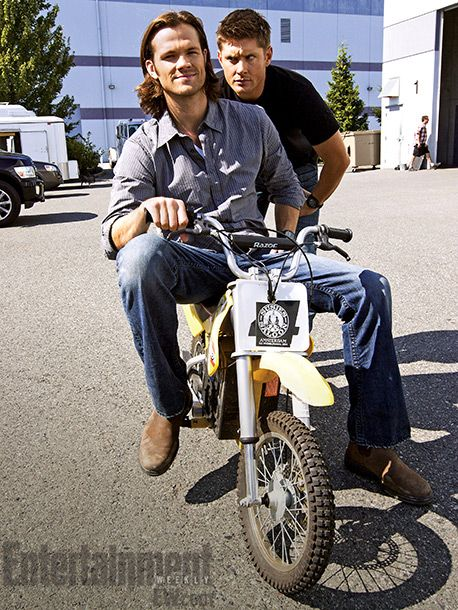 Jensen and Jared having fun on set - from EW interview with Jared Padalecki.
