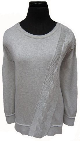 MC-L/S crew neck tunic with cable detail (92034)