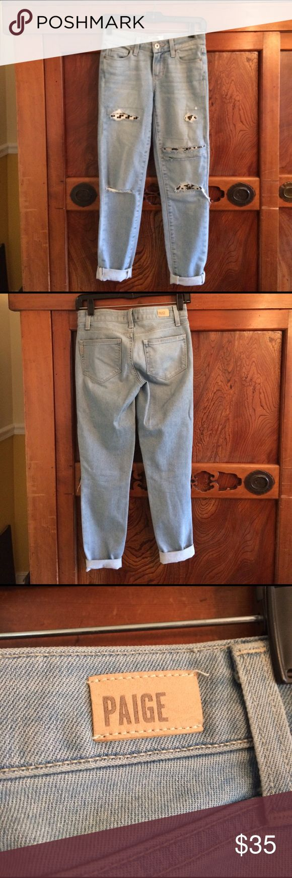 Paige ankle length distressed jeans sz 25 Light blue distressed ankle length jeans with patches sz 25 in excellent used condition Paige Jeans Jeans Ankle & Cropped