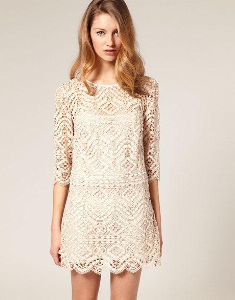Asos Collection Asos Salon Lace Shift Dress in Beige (cream) | Lyst