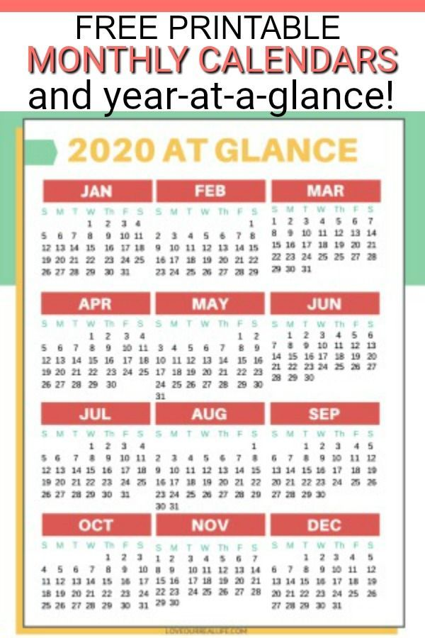 Free Printable 2020 Calendars Calendar Printables Monthly