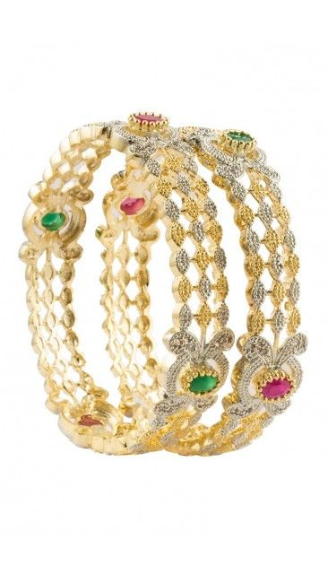 Ethnic Two tone colored crystal gold plated bangles - 80952