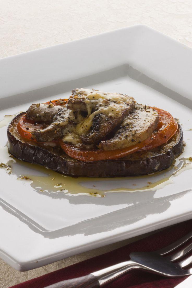 Eggplant mushroom stack