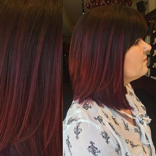 dark brown hair with burgundy highlights