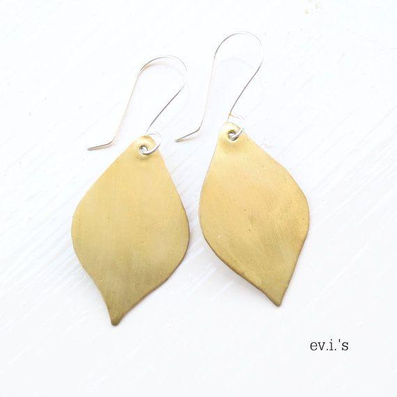 Brass Teardrop Sterling Ear Hooks by EVIsMetalworkJewelry on Etsy, €22.00