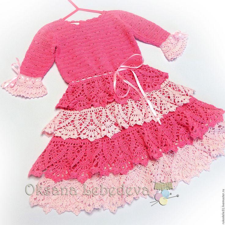 Купить Комплект вязаный крючком розовый Зефир платье жакет для девочки хлопок