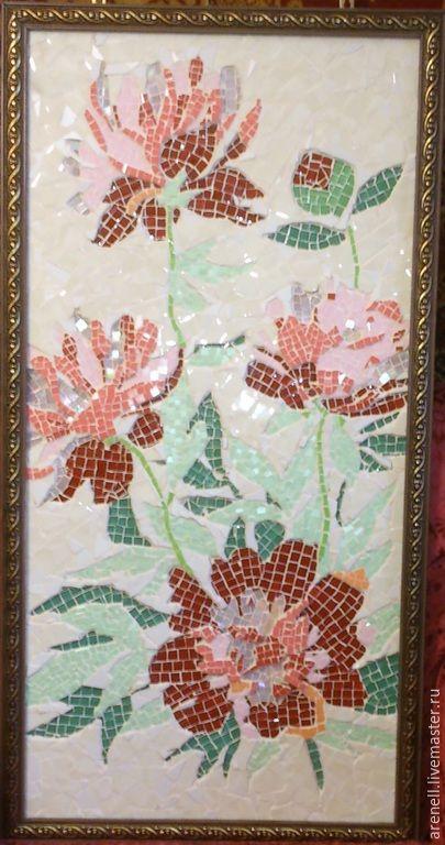 """Панно """"Пионы"""", сделанное из керамики и стеклянной мозаики в мозаичной технике. В раме. С удовольствием сделаю аналог на заказ, точное повторение невозможно. В реальности выглядит намного красивее, чем на фото. Мозаика - это великолепное украшение Вашего дома и прекрасный подарок на любой случай! Материалы:керамика, стеклянная мозаика, смальта. Размер: 50(ш)*100(д)см."""