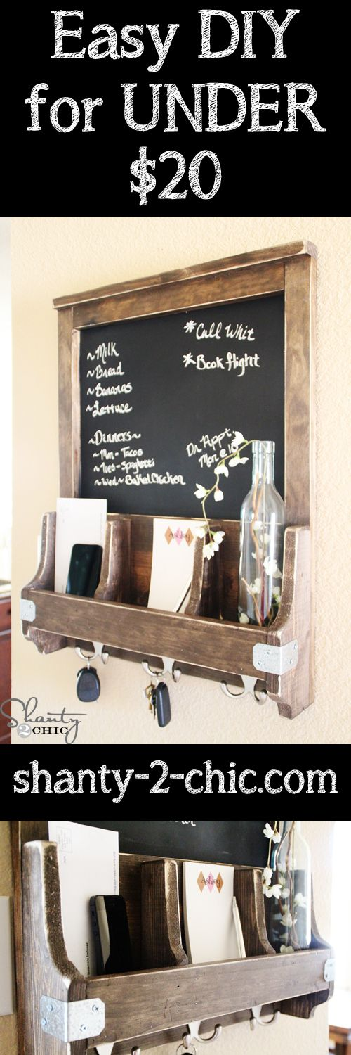 DIY Chalkboard Mail Station~ this would be a fun gift idea for a house warming, wedding gift, holiday gift, etc.