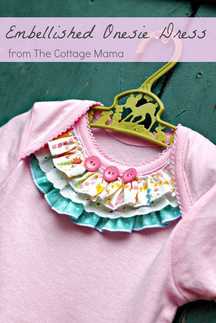 Embellished Onesie Baby Girl Dress - The Cottage Mama.  This might be a nice way to dress up an old onesie as well.