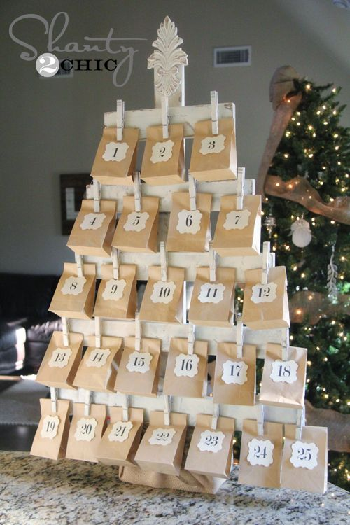 DIY Christmas Tree Advent Calendar - My kiddos love counting down to Christmas. I created this fun Advent tree calendar with some cheap supplies. I plan to fill…