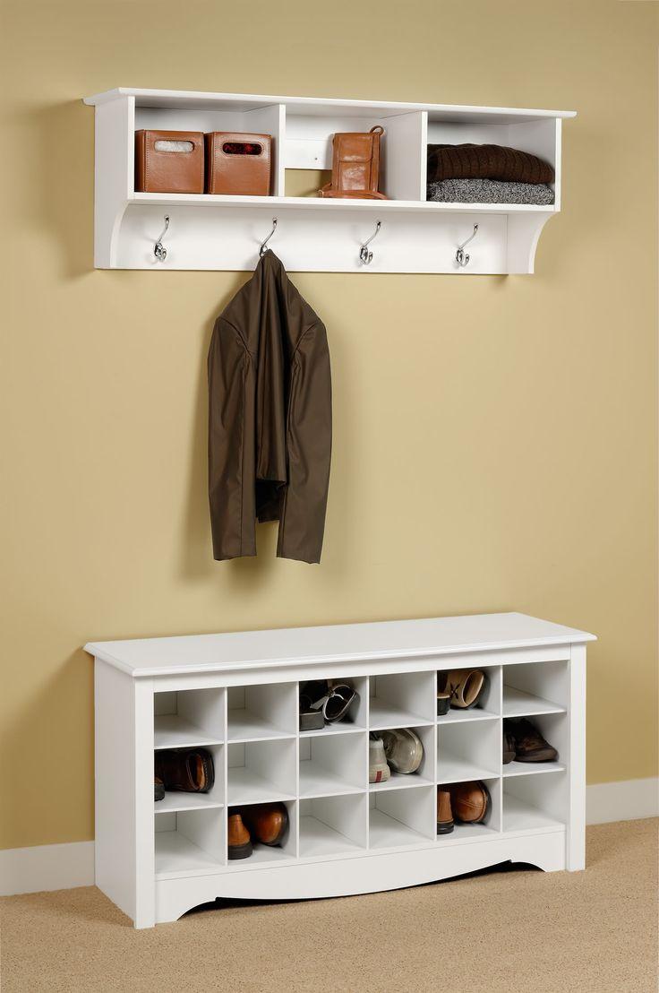 Rectangle white wooden wooden shoe rack on