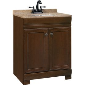 Style Selections�Windell 24.5-in x 18.5-in Java Integral Single Sink Bathroom Vanity with Solid Surface Top
