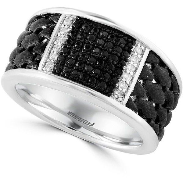 Effy Men's Sterling Silver, White and Black Sapphire Ring ($1,160) ❤ liked on Polyvore featuring men's fashion, men's jewelry, men's rings, black, mens sterling silver rings, mens sapphire rings, mens rings and mens watches jewelry