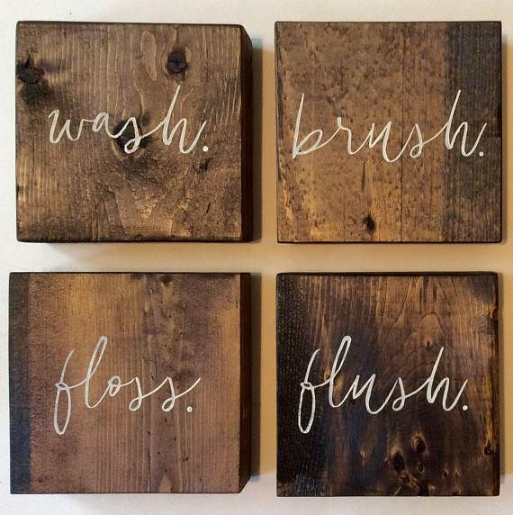 This wooden bathroom wall set will make a unique addition for Bathroom wall decor images