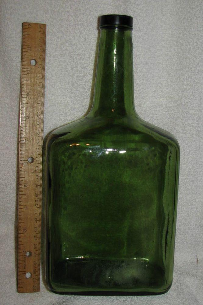 Vintage green glass 11 1 2 wine bottle g r e e n for Green glass wine bottles