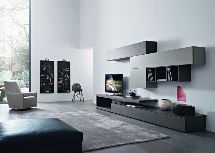 Disegno Wall Unit V by Sangiacomo, Italy in grey oak veneer and matt ardesia lacquer. Manufactured By San Giacomo.