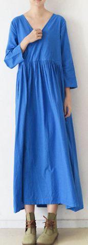 2017 BLUE V NECK LINEN DRESSES PLUS SIZE CASUAL SUNDRESS LONG SLEEVE MAXI DRESS (5)