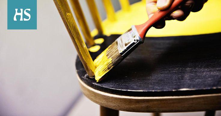 Vanhalle pinnatuolille syntyy uusi ilme hiomalla ja maalaamalla, ja nojatuolin voi verhoilla uusiksi. Tuolin maalaaminen maalaus tuunaus ohje maalausohje huonekalujen kunnostus verhoilu