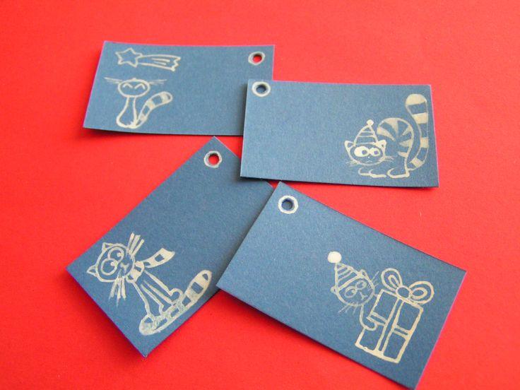 Kočičí jmenovky na vánoční dárky - modré