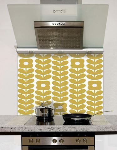 Retro Flowers and Leaves Orchre glass splashback.