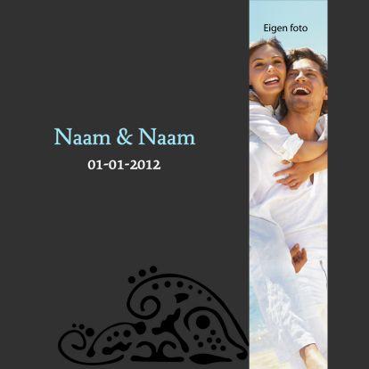 Sierlijke trouwkaart met eigen foto kaart nummer 1 - Trouwkaarten - Kaartje2go