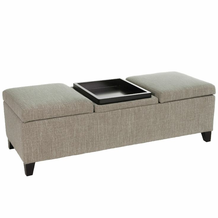 Elegant Design Fabric Storage Ottoman With Center Coffee Table Tray