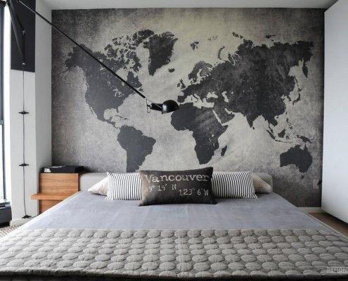 Фотообои серого цвета в спальне