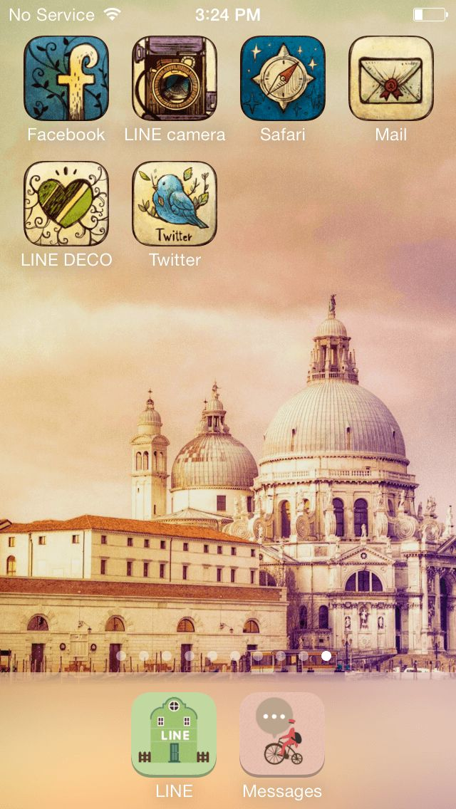 (Line deco)Go travel-! Let's go on a happy trip :) ★ In this screen ★ Deco Pack: Vintage color + Colorful town Wallpaper:Santa Maria della Salute