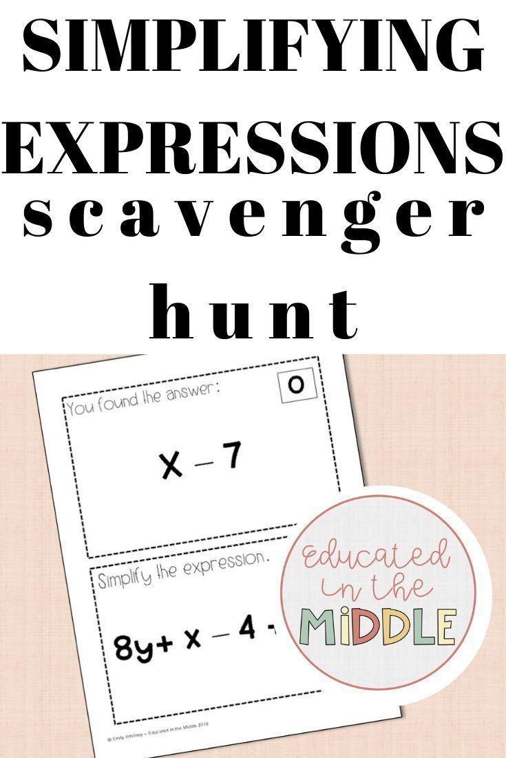 Simplifying Expressions Activity Simplifying Expressions Expressions Activities Like Terms