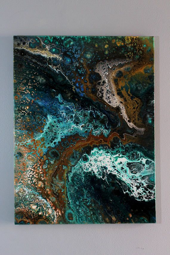 Beautiful Earth tone colored acrylic pour on canvas. 24x18 ...