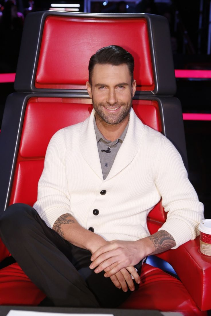 "People's sexiest man alive is in the building. Adam Levine looks good on ""The Voice"" on Dec.  9 in Los Angeles: Sweater, Cardigan, Adam Levine ️, Teamadam, Team Adam, Adam Levine The Voice, Adam Levine Maroon, Man, Hottie"