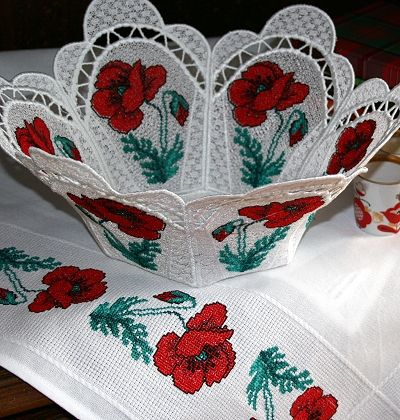 The Poppy Meadow Bowl and Doily Set - Advanced Embroidery Designs