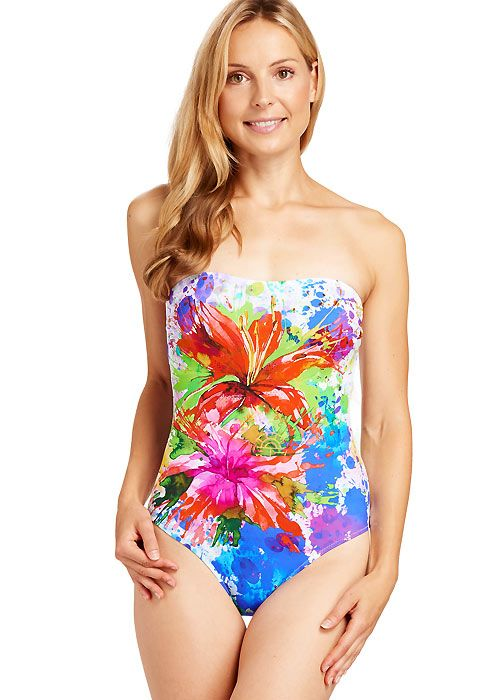 5b98c07f71 Splatter style paintings have been a big part of art and design for a long  time and here Feraud has brought swimwear mainstays like floral patterns  into ...