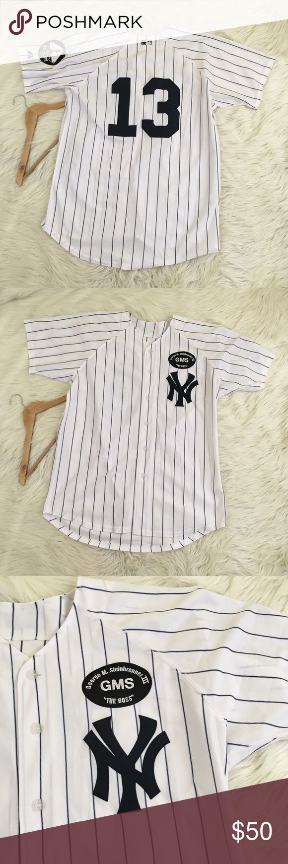 "Alex Rodriguez New York Yankees Majestic Jersey Alex Rodriguez New York Yankees Majestic Cool Base Jersey 2010 • #13 • GMS • BS Patch • Button Down • cool base • Excellent condition, like new • no size, really big. Check measurements.  Length: 33"" Armpit to armpit: 25""  📌NO lowball offers 📌NO modeling 📌NO trades  Come check out the rest of my closet! I have various brands and ALL different sizes ❤️  Tags for discovery: baseball basketball sports Ball shirt XL XXL Mens the boss NFL Fan…"