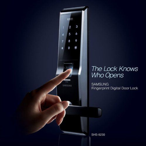 Fingerprint Door Lock - This advanced lock only opens the door when both fingerprint identification and a password are used according to the user's settings, to enhance home security. The product also adopts state of the art Random Security Coding technology which generates two variable digits, and after pressing these two digits, a user can enter his/her own password and will not expose the password on the touch pad.