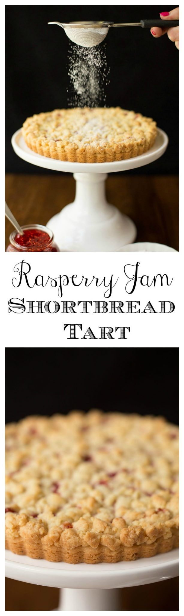 Raspberry Jam Shortbread Tart - with a layer of sweet raspberry jam nestled between the crisp, melt in your mouth shortbread crust and buttery crumble topping, this simple tart might be one of the most delicious desserts you'll ever have the pleasure of meeting!